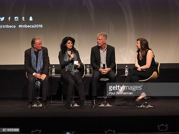 Film Subject Chef Jeremiah Tower producer Lydia Tenaglia executive producer Anthony Bourdain speak on stage at CNN Films Jeremiah Tower The Last...