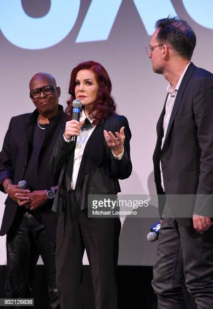 Film subject David Porter executive producer Priscilla Presley and Director Thom Zimny take part in a QA following the 'Elvis Presley The Searcher'...