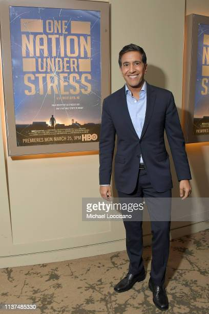 Film subject Dr Sanjay attends the special screening of the HBO Documentary Film One Nation Under Stress at the HBO Theater on March 21 2019 in New...