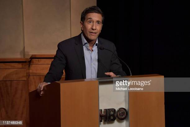 Film subject Dr Sanjay Gupta introduces the special screening of the HBO Documentary Film One Nation Under Stress at the HBO Theater on March 21 2019...