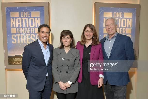 Film subject Dr Sanjay Gupta producer Daphne Pinkerson HBO Documentary Films EVP cohead Nancy Abraham and director and producer Marc Levin attend the...