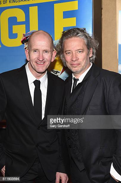 Film subject former skijumper Michael 'Eddie' Edwards and director Dexter Fletcher attend the 'Eddie The Eagle' New York screening at Chelsea Bow Tie...