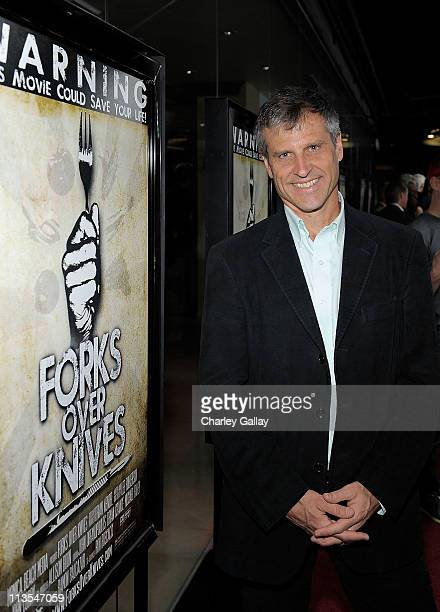 Film subject Gene Baur attends the 'Forks Over Knives' premiere at the Silverscreen Theater at the Pacific Design Center on May 2 2011 in West...