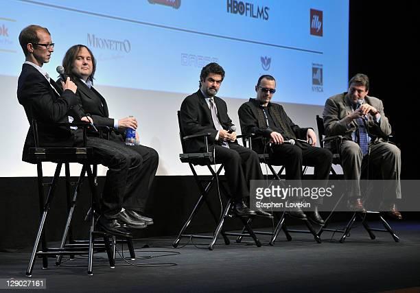 Film subject Jason Baldwin, co-director Bruce Sinofsky, co-director Joe Berlinger, film subject Damien Echols, and director of the American film...