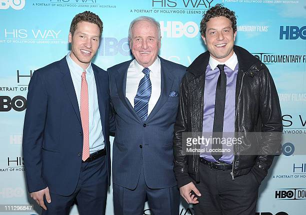Film subject Jerry Weintraub and producers and brothers Gabe Polsky and Alan Polsky attend the HBO Documentary Screening Of 'His Way' at Time Warner...