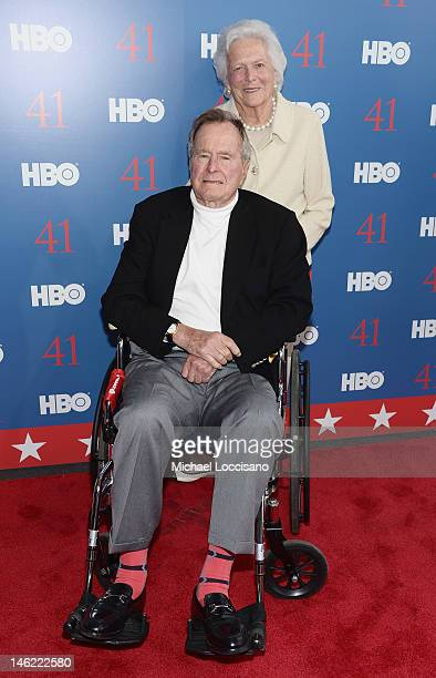 "Film Subject President George H.W. Bush and his wife, Mrs. Barbara Bush attend the HBO Documentary special screening of ""41"" on June 12, 2012 in..."