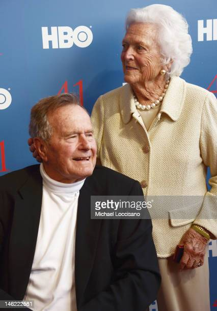 Film Subject President George HW Bush and his wife Mrs Barbara Bush attend the HBO Documentary special screening of '41' on June 12 2012 in...