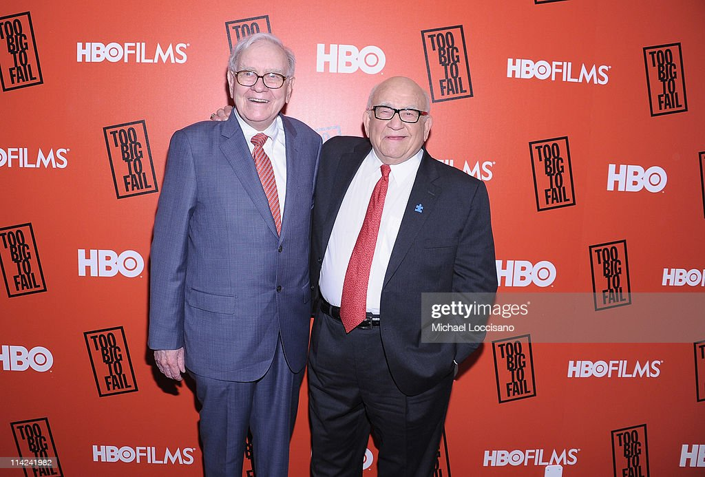 Film subject Warren Buffett (L) and actor Ed Asner attend the 'Too Big To Fail' New York Premiere at The Museum of Modern Art on May 16, 2011 in New York City.