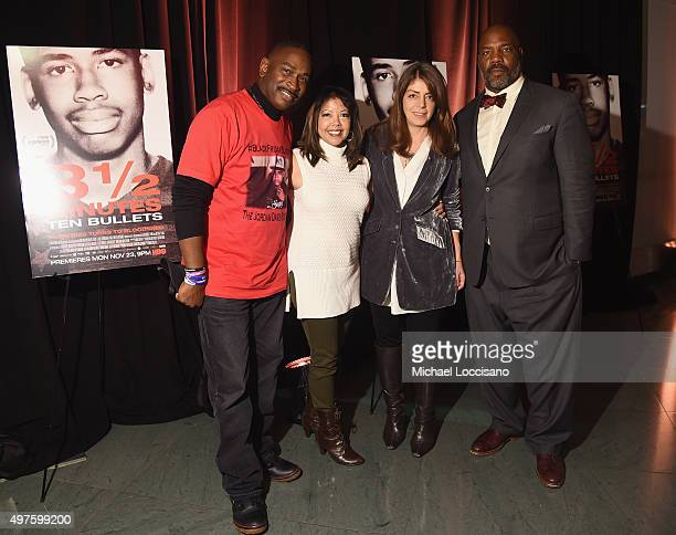 Film subjects Ron Davis and Lucia McBath Senior Vice President of HBO Documentary Films Nancy Abraham and writer Jelani Cobb attend the HBO Screening...