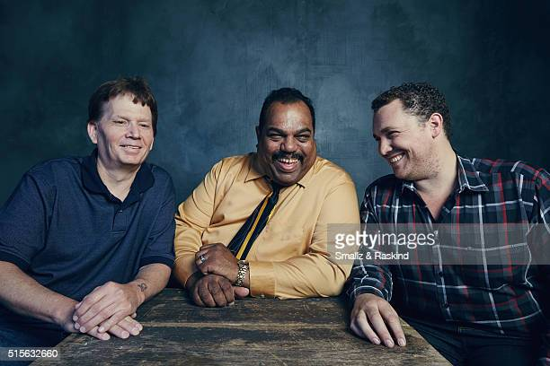 Film subjects Scott Shephard Daryl Davis and director Matthew Ornstein of 'Accidental Courtesy Daryl Davis Race America' are photographed in the...