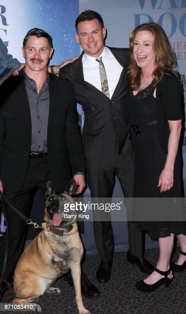 Film Subjects Trent McDonald and dog Layka producer Channing Tatum and director Deborah Scranton attend HBO and Army Ranger Lead The Way Fund present...