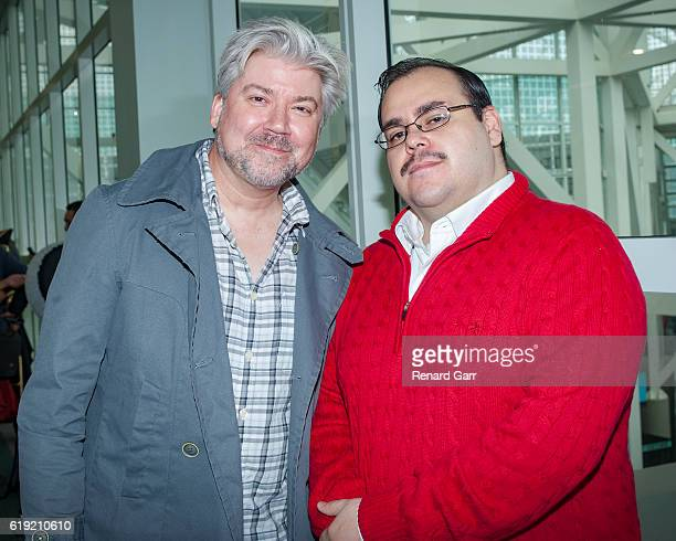 Film Threat Magazine Founder Chris Gore with Ken Bone cosplayer at Los Angeles Convention Center on October 29 2016 in Los Angeles California