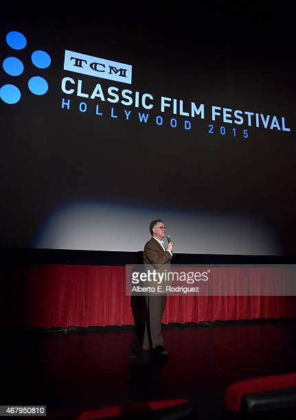 Film writer Eddie Muller speaks onstage before the screening of 'Rebel Without A Cause' during day three of the 2015 TCM Classic Film Festival on...