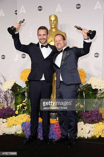 Filmakers Anders Walter and Kim Magnusson winners of Best Short Film Live Action pose in the press room during the Oscars at Loews Hollywood Hotel on...