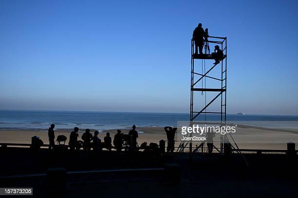 filmcrew at sea ostend belgium - film crew stock photos and pictures