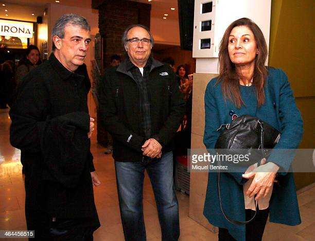 Filmdirector Francesc Relea Joan Manuel Serrat and Candela Tiffon attend the shortfilm presentation of 'El Simbolo y el Cuate' at the Girona Cinema...