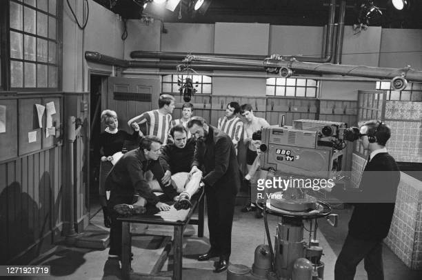 Filming a scene for the BBC television series 'United' which revolves around fictional football team Brentwich United UK 1965 Actress Mitzi Rogers...