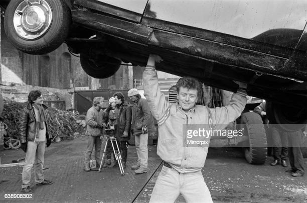 UB40 filming a video film in a scrapyard The video film will feature songs from their album 'Labour of Love' Pictured Brian Travers saxophonist with...