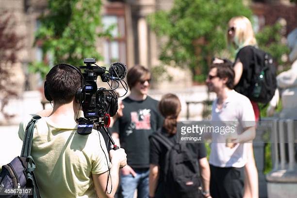 filming group of young people - media interview stock pictures, royalty-free photos & images