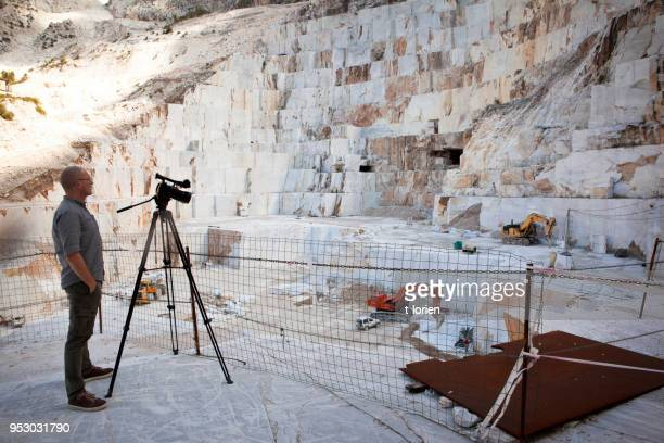 Filming in Marble Quarry, Italy