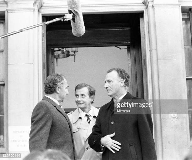 Filming of BBC TV Programme 'Yes Minister' outside the 'Department of Administrative Affairs' No 10 Downing Street London 23rd October 1982 Cast...