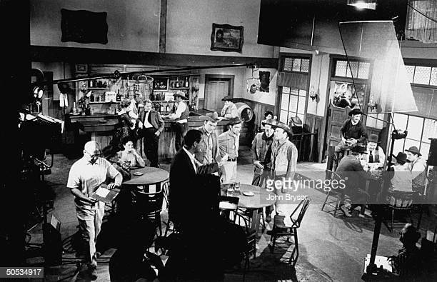 Filming of Gunsmoke TV Western on the soundstages of California Studios