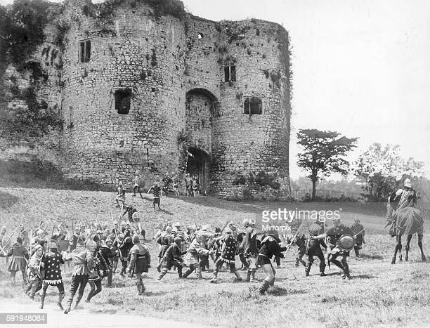 Filming of silent film Ivanhoe on location at Chepstow Castle located in Chepstow Monmouthshire in Wales July 1913