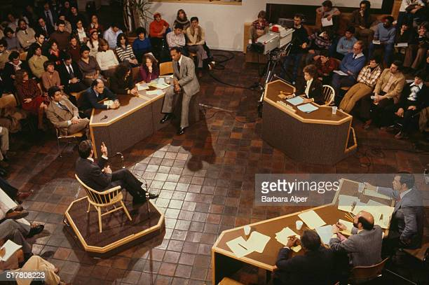Filming of the American public television news program 'The Advocates' in Boston Massachusetts USA 1978 The host Marilyn Berger can be seen seated on...