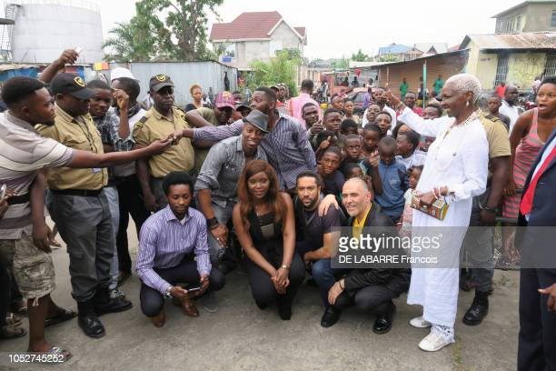 filming of the Congolese serie River Hotel by Habi Toure and Didier Ndenga in Kinshasa on June 15 all the actors Benito Eebra Toore Majid Michel the...