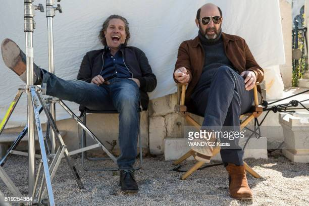 Filming of the first feature film Brillantissime by Michele Laroque the actors Charlie Dupont and Kad Merad on april 21 2017 in Nice France
