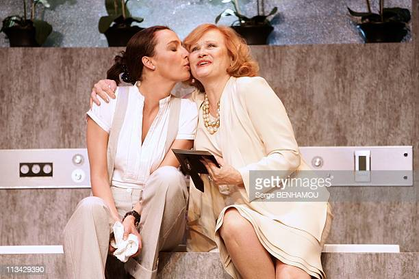 Filming Of The Play 'La Salle De Bain' At Theatre Rive Gauche In Paris France On June 24 2009 Caroline Bourg andKatia Tchenko