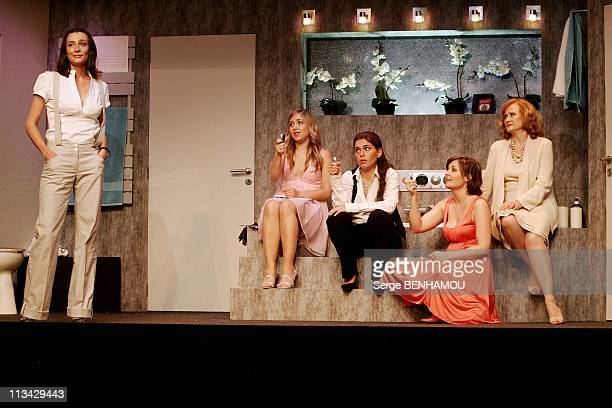 Filming Of The Play 'La Salle De Bain' At Theatre Rive Gauche In Paris France On June 24 2009 Caroline Bourg LillyFleur Pointeaux Fabienne Mahe...
