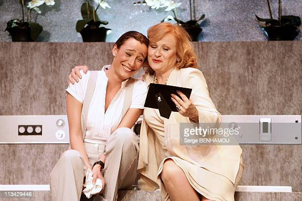 Filming Of The Play 'La Salle De Bain' At Theatre Rive Gauche In Paris France On June 24 2009 Caroline Bourg and Katia Tchenko