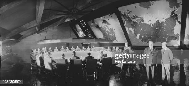 Filming on the set of 'Dr Strangelove or: How I Learned to Stop Worrying and Love the Bomb' directed by Stanley Kubrick, UK, 14th March 1963; from...