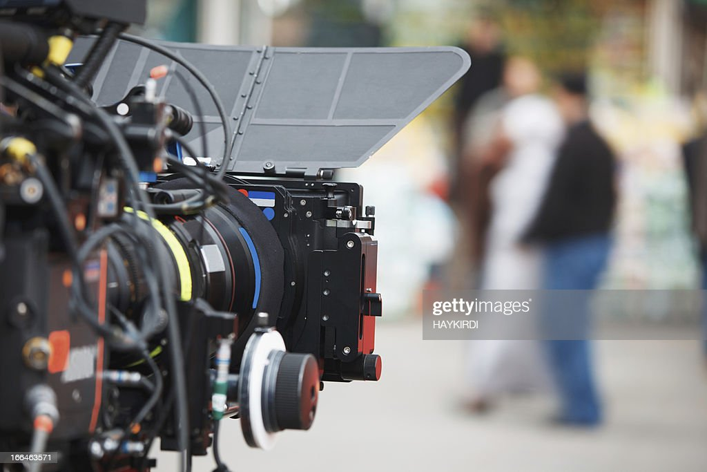 Filming with professional camera : Stock Photo