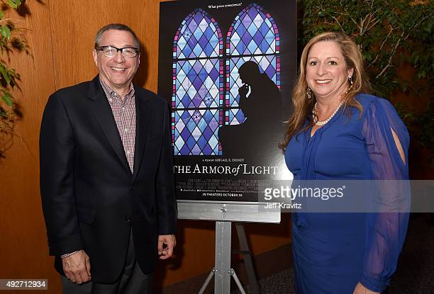 Filmmaker Abigail Disney and Reverend Rob Schenck attend the The Armor Of Light Los Angeles Premiere at the Directors Guild Of America on October 14...