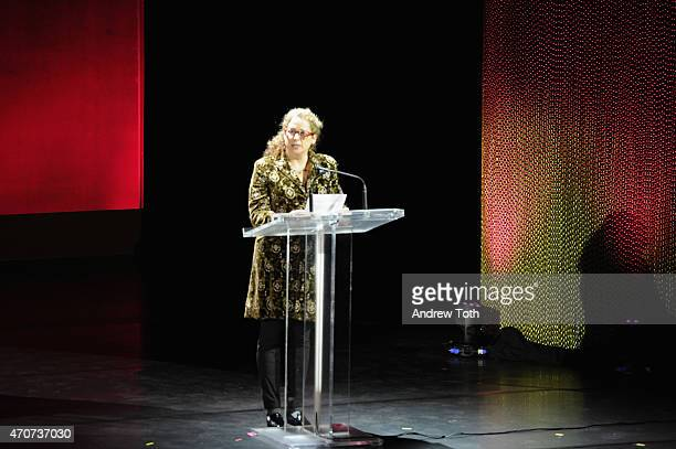 Filmmaker Abigail Disney attends the Women In World Summit at the David H Koch Theater at Lincoln Center on April 22 2015 in New York City