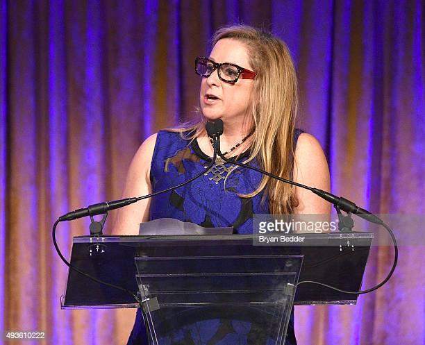 Filmmaker Abigail Disney speaks at the International Women's Media Foundation's 2015 Courage in Journalism Awards on October 21 2015 in New York City