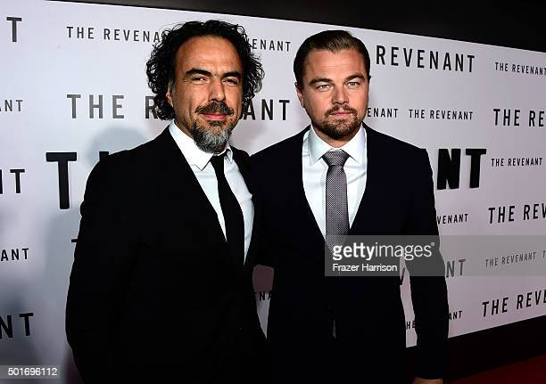 Filmmaker Alejandro Gonzalez Inarritu and actor Leonardo DiCaprio attend the premiere of 20th Century Fox and Regency Enterprises' The Revenant at...