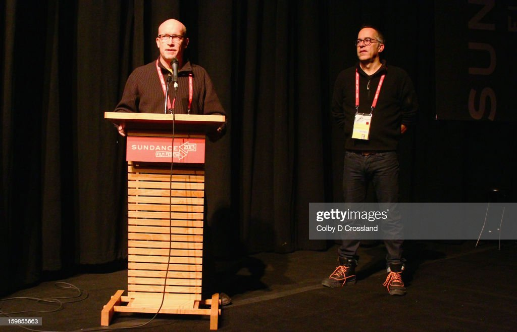 Filmmaker Alex Gibney and Director of the Sundance Film Festival John Cooper speak onstage at the 'We Steal Secrets: The Story Of Wikileaks' premiere at The Marc Theatre during the 2013 Sundance Film Festival on January 21, 2013 in Park City, Utah.