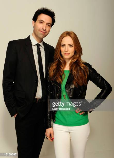 Filmmaker Alex Karpovsky and actress Jaime Ray Newman of the film 'Rubberneck' visit the Tribeca Film Festival 2012 portrait studio at the Cadillac...