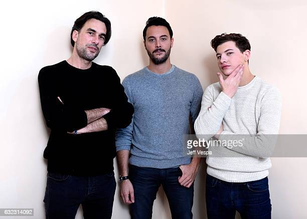 Filmmaker Alexandre Moors and actors Jack Huston and Tye Sheridan from the film 'The Yellow Birds' pose for a portrait in the WireImage Portrait...