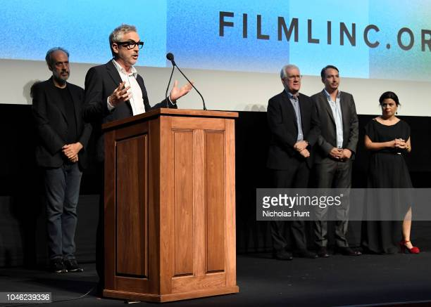 Filmmaker Alfonso Cuaron speaks onstage with NYFF Director Kent Jones Executive Producer David Linde Producer Nicolas Celis and Producer Gabriela...