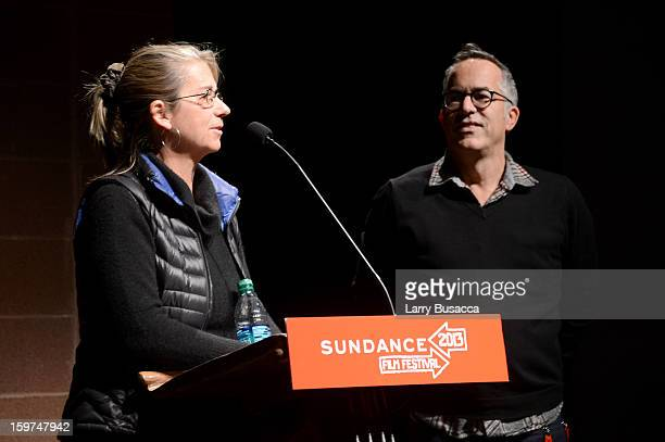 Filmmaker Alison Ellwood and Sundance Festival Director John Cooper speak onstage at the History of the Eagles Part 1 premiere and QA during the 2013...