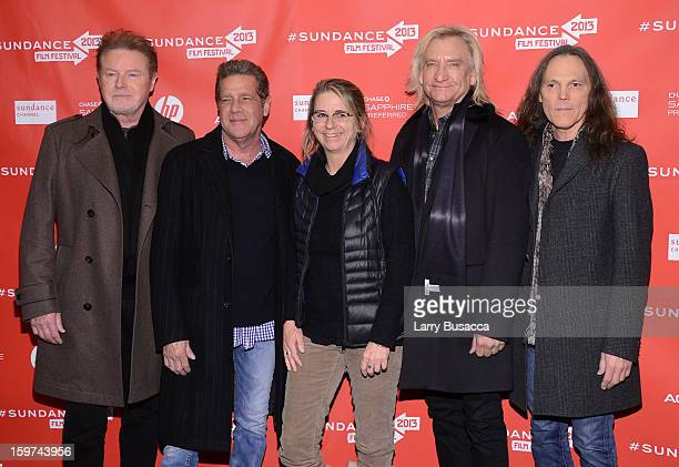 Filmmaker Alison Ellwood poses with musicians Don Henley Glenn Frey Joe Walsh and Timothy B Schmit of The Eagles at the 'History of the Eagles Part...