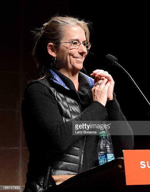 Filmmaker Alison Ellwood speaks onstage at the History of the Eagles Part 1 premiere and QA during the 2013 Sundance Film Festival at Eccles Theater...