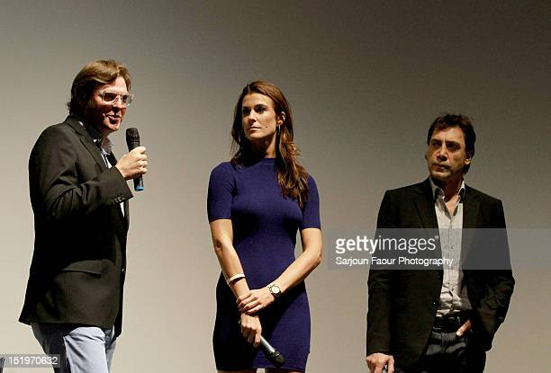 Filmmaker Alvaro Longoria Producer Lilly Hartley and Actor/ Producer Javier Bardem onstage at the Sons Of The Clouds The Last Colony premiere during...
