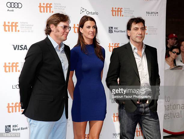 Filmmaker Alvaro Longoria Producer Lilly Hartley and Actor/ Producer Javier Bardem attend the Sons Of The Clouds The Last Colony premiere during the...