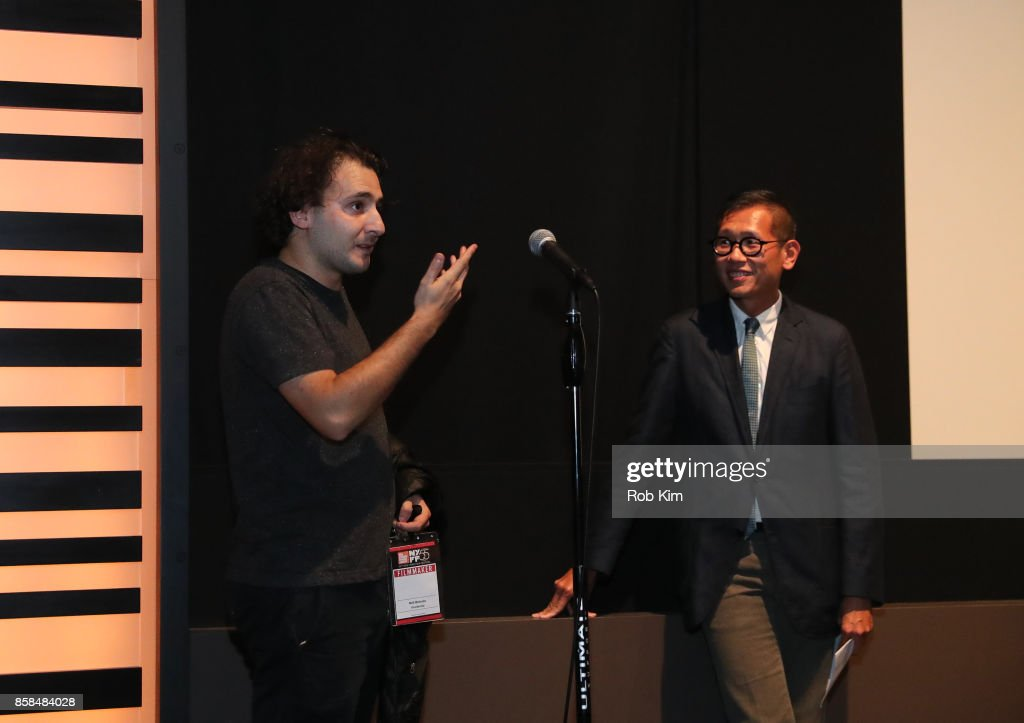 Filmmaker and artist Neil Beloufa (L) and Film Society of Lincoln Center's Director of Programming Dennis Lim make an intro at a screening of 'Occidental' during the 55th New York Film Festival at Elinor Bunin Munroe Film Center on October 6, 2017 in New York City.