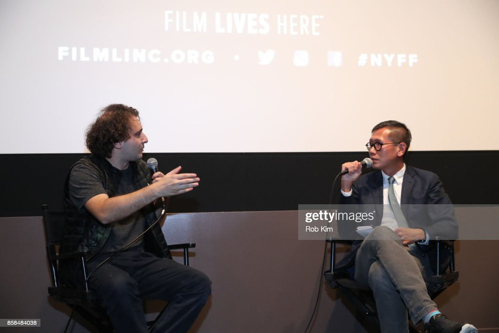 Filmmaker and artist Neil Beloufa (L) and Film Society of Lincoln Center's Director of Programming Dennis Lim discuss the film at a Q&A for the screening of 'Occidental' during the 55th New York Film Festival at Elinor Bunin Munroe Film Center on October 6, 2017 in New York City.